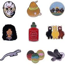 Brooches Pins Horror Jewelry-Bag Badge Denim-Pin-Accessory Movie Animals Cute Enamel