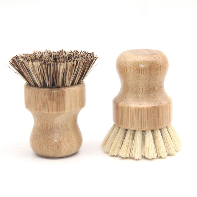 Useful High Quality Kitchen Cleaning Brush Sisal Palm Bamboo Short Handle Round Dish Brush Bowl Pot Brush Durable Cleaning Tool 3