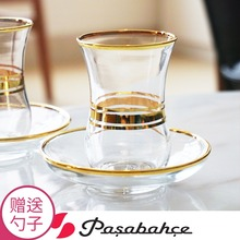 Turkish Black Tea Cup 101 mL-200 mL Imported Lead-free Glass with Saucer Coffee Handpainted Phnom Penh Special Desig