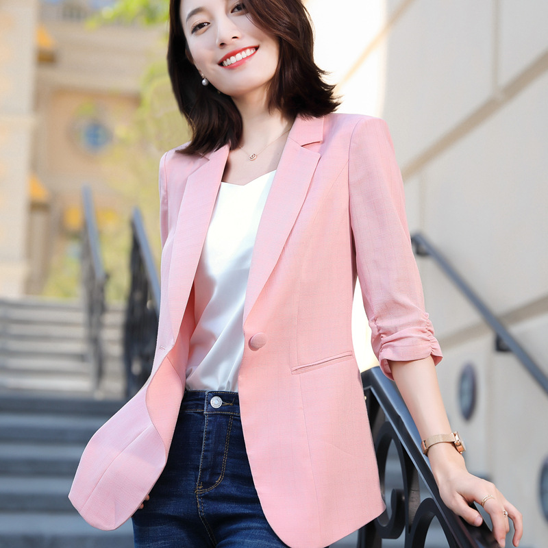 Ladies Blazer Plus Size Women's Cotton And Linen Suit Jacket 2020 Summer New Elegant Three-quarter Sleeve Plaid Pink Blazer