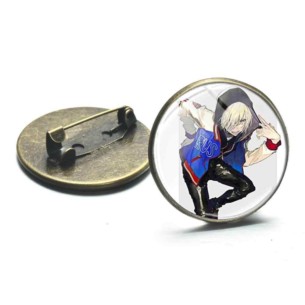 SONGDA Freddo Yuri Plisetsky Anime Figura Risvolto Spille Pulsante Cosplay Distintivi e Simboli YURI!!! Sul GHIACCIO Spille la Raccolta per Zaini Vestiti