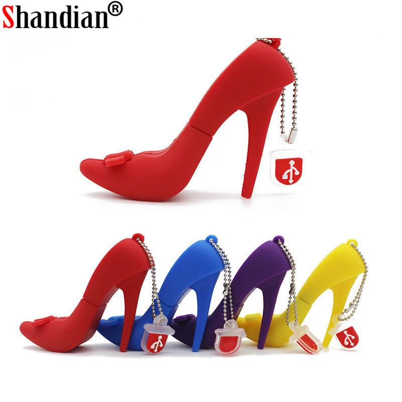 SHANDIAN High Heels USB Flash Pendrive Pendrive 64GB 32G 16G 8GB 4GB Pen Drive Fashion Shoes USB Stick Best Gift Memoria USB 2.0