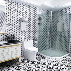Керамическая имитация мозаики для ванной комнаты, балкон, плитка для ванной в европейском стиле, черно-белая плитка для кухни, Белая стена и