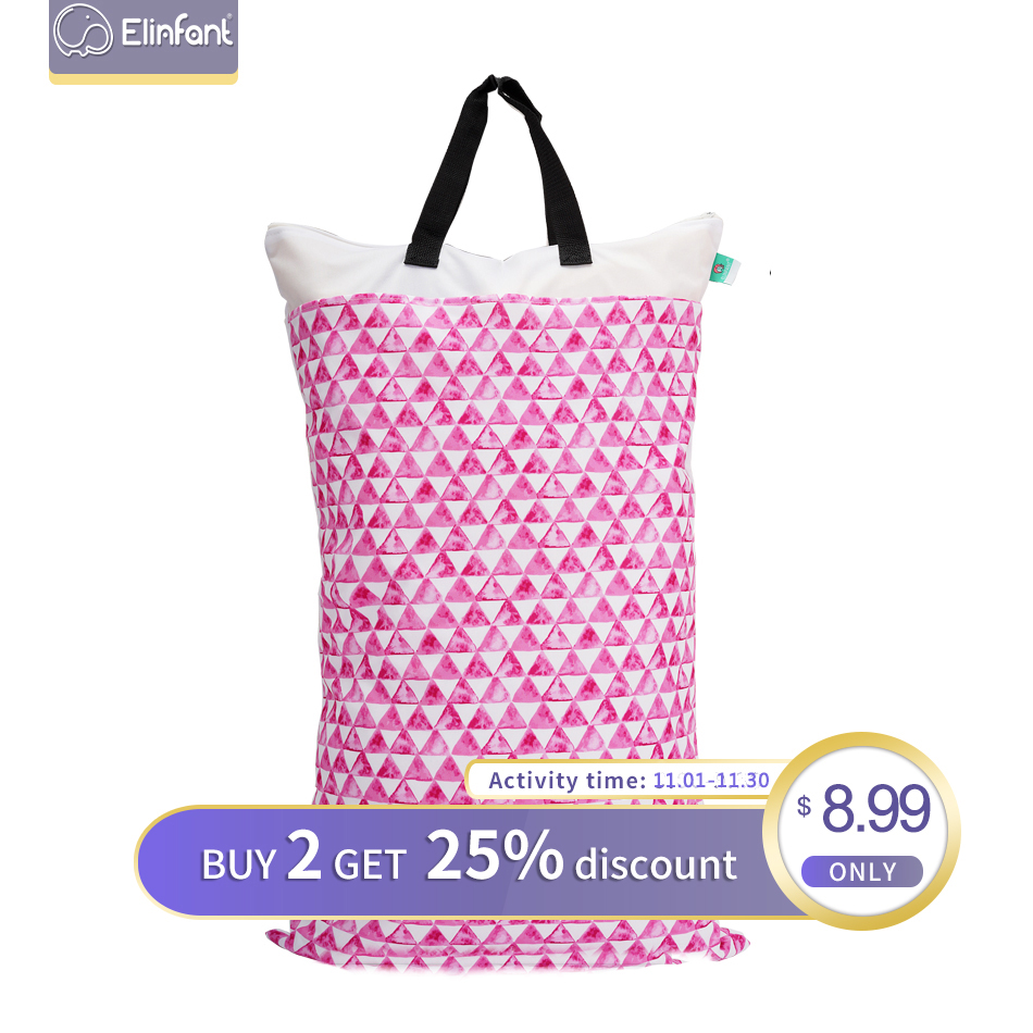Elinfant 40*70cm Large Hanging Wet/Dry Pail Bag For Cloth Diaper Laundry With Two Zippered Waterproof Diaper Bag Baby Nappy Pack