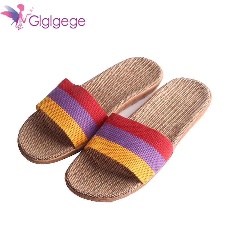 Promo 2019 Sale Linen Slipper Lover Summer Style Floor Nonslip Breathable Indoor Slippers Women Shoes Flax Striped Bedroom Shoes
