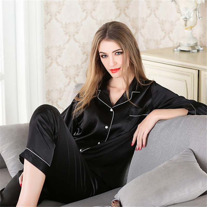 Women Satin Silk Pajamas Sets Adult Spring Faux Silk Flower Print Sleepwear Two Pcs Long Sleeve Shirt And Pant V-Neck Nighties