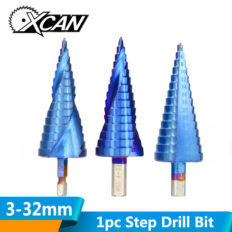 XCAN 1pc 3-12/4-12/4-20/4-32 Nano Blue Coated HSS Step Drill Bit Core  Hole Drilling For Wood/Metal Cone Drill Bit