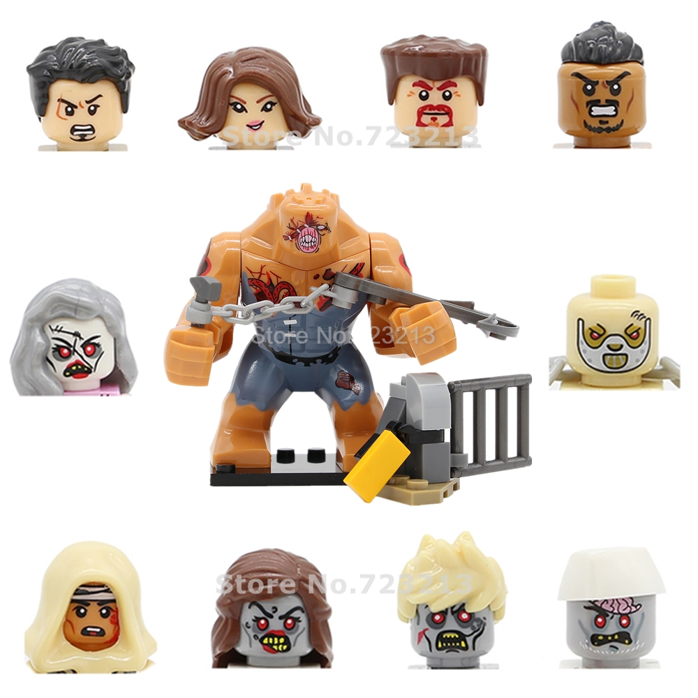 Single Zombie Army Figure Head Face Alice Walking Dead Ghost TV SWAT Building Blocks Model Kits Bricks Toys