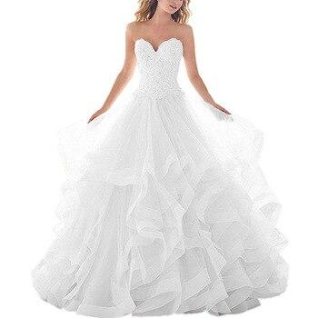 Strapless Lace Sweetheart Wedding Dress Fabric With Frills Fluffy Ruffles White Bridal Luxury Princess