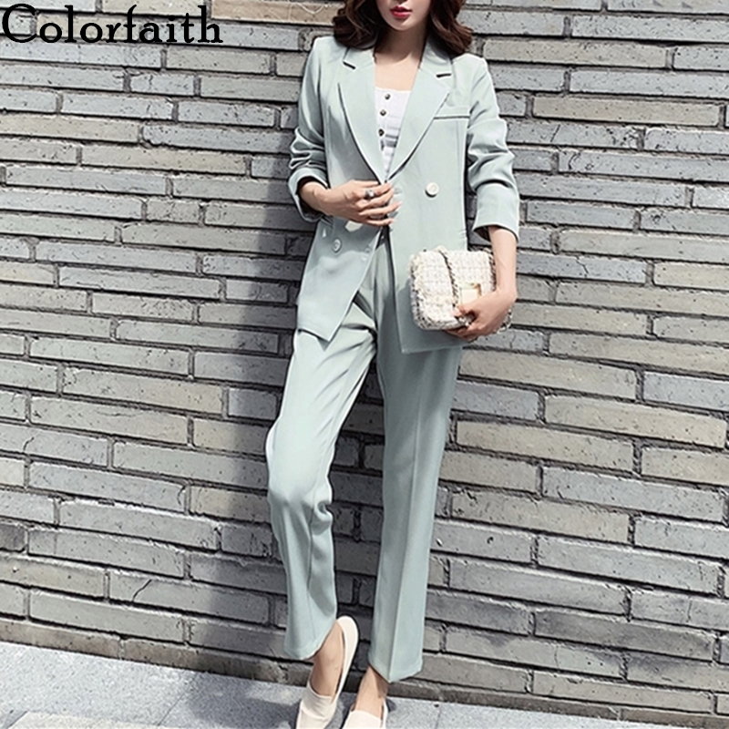 Colorfaith 2020 New Spring Woman Sets Two Piece Outfits Matching Pants Casual Double Breasted Office Elastic Waist Suit WS1272
