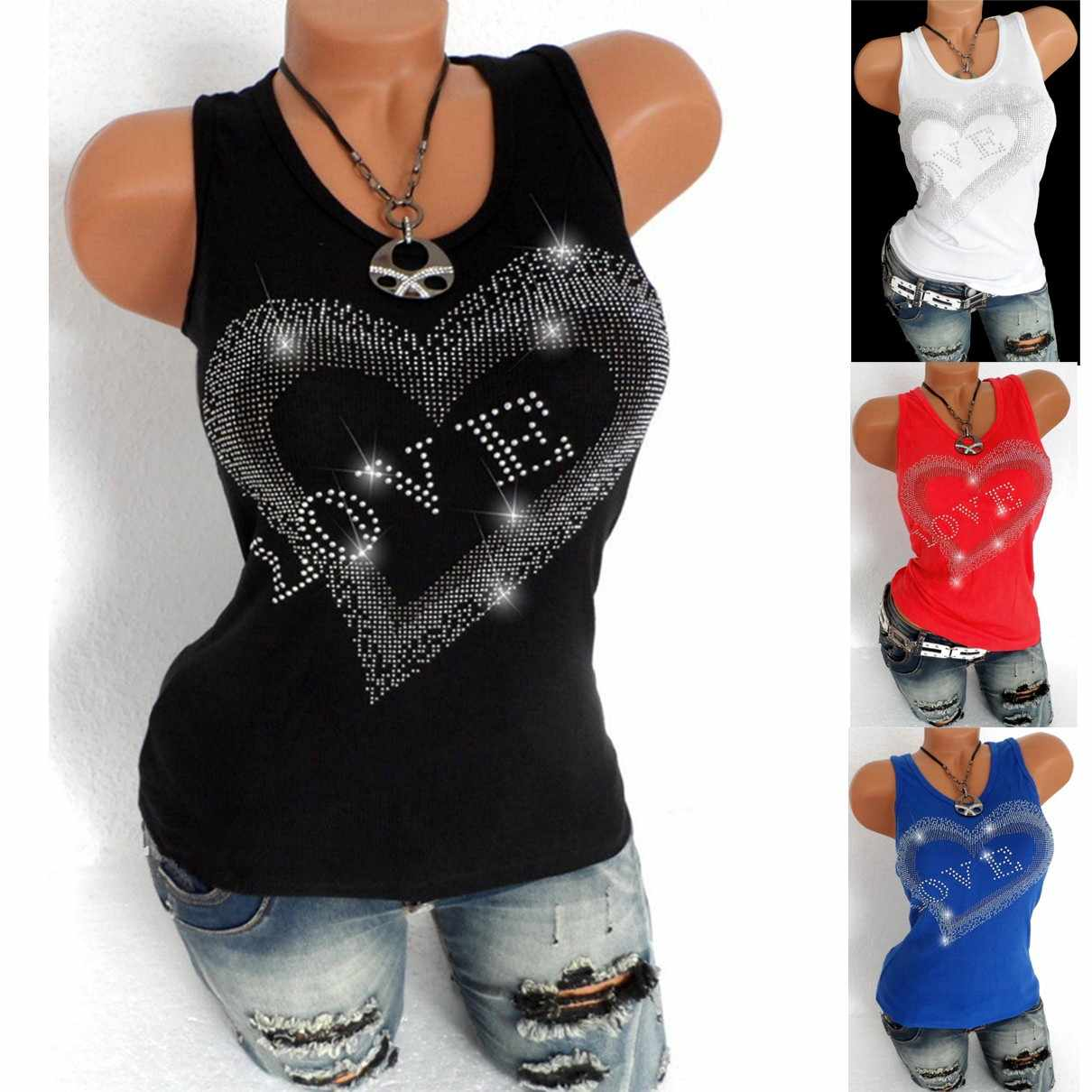 Solid Heart Sequin Summer Tank Tops Ladies Sleeveless Round Neck Loose T Shirt Ladies Vest Camisole Cotton Slim Ladies Thin Vest