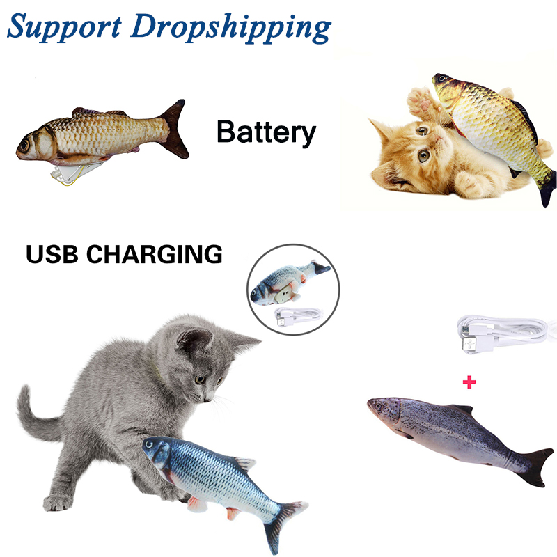 30CM Pet Soft Plush 3D Fish Shape Cat Chewing Toys Pet Electronic USB Charging Simulation Fish Toy Cat Toy With Catnip Dropship(China)