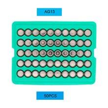 50 قطعة AG13 LR44 357A SR44 S76E 1.55 فولت زر عملة بطاريات القلوية خلية دعوى لمشاهدة آلة حاسبة لعبة على مدار الساعة