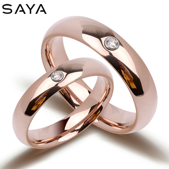 Couple Rings Bohemia Dome Band Rose Gold Tungsten with Shiny CZ Stones for Wedding Gift, Free Shipping, Customized longway free shipping bohemia gold plated tassel necklaces