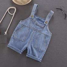 2020 chłopięce spodnie na szelkach dla niemowląt denimowe fartuchy spodenki kombinezony spodnie dla dzieci dzieci dżinsy ubrania dziecięce tanie tanio COTTON Chłopcy Przycisk fly Stałe Luźne baby boy overalls