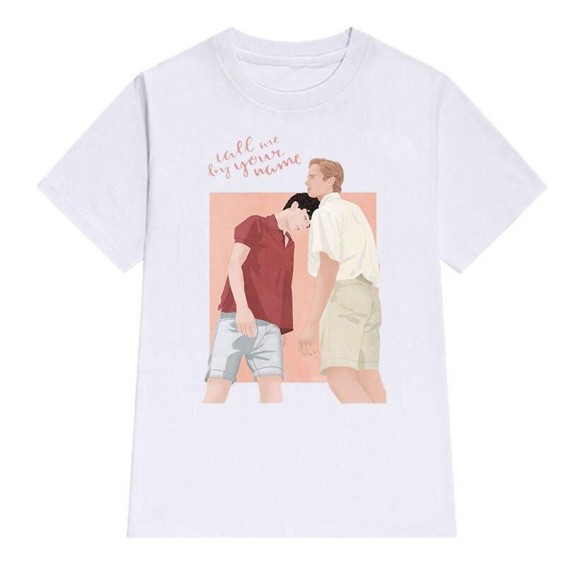 Call Me By Your Name Men Collar T Shirt White Tshirt Men Funny Print Short Sleeve Fashion Harajuku Tshirt Men Cotton Top