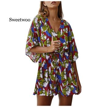 Women Floral Print V-Neck Half Sleeve Lace-Up Slim Mini Playsuits Summer Casual Loose Beach Bohemian Jumpsuit Rompers vintage floral print v neck half sleeve blouse for women
