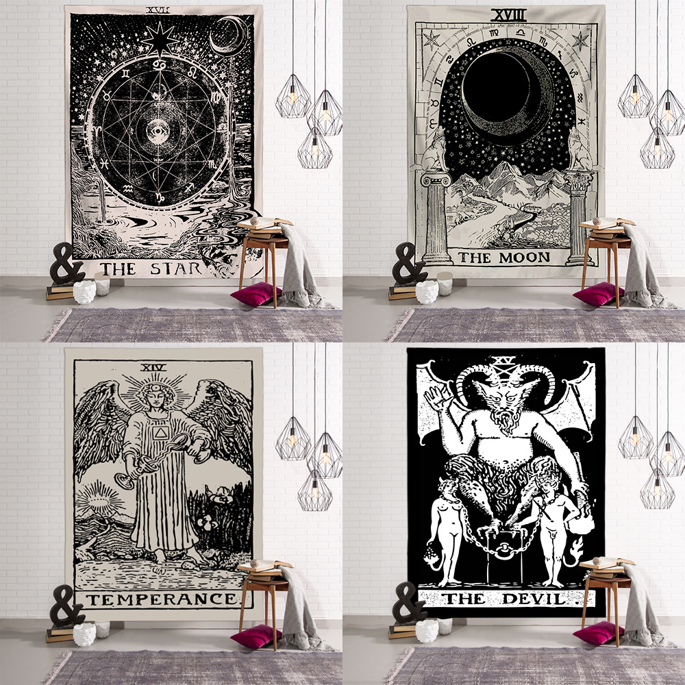 Dark Tapestry Wall Hanging Witchcraft Hippie Beach Throw Rug Carpet Sun Moon Tapestries Bohemian Home Art