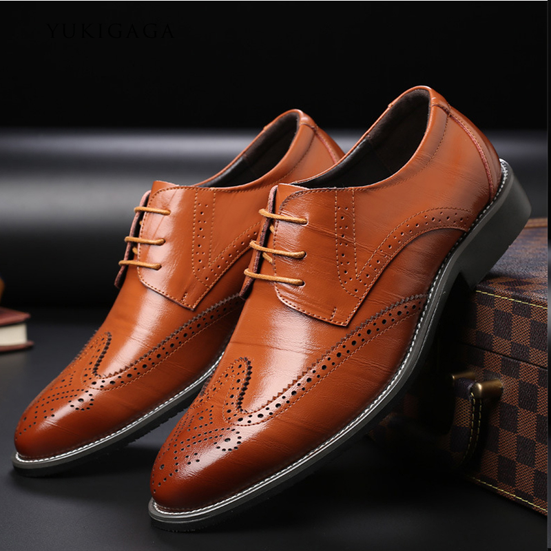 Buy Genuine Cow Leather Brogue Wedding Business Mens Casual Flats Shoes Vintage Handmade Oxford Shoes for Men 2020 Black Burgundy