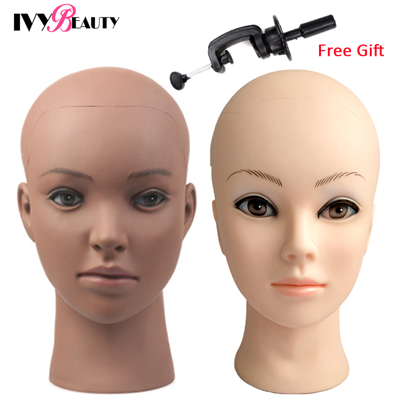 Bald Mannequin Head Stand Soft PVC Female Cosmetology Manikin Head Training Dolls Head For Wigs Caps Lashes Jewelry Display