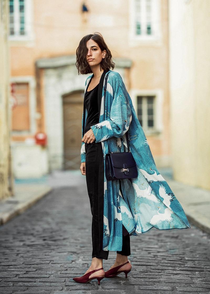 dress-kimono-inspired-robe-heron-printed--new-collection-aria-di-bari-kitten-heels-silk-pants-velvet-bodysuit-french-blogger