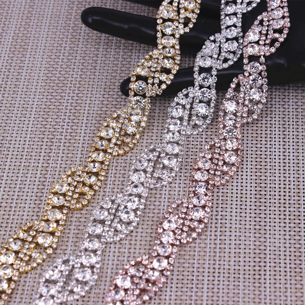 shiny glass crystal chain rhinestone trim silver crystal chain decoration wedding dress accessories