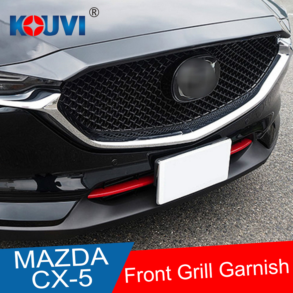 ABS chrome trim front Grid Grill Grille Strip 2pcs For <font><b>Mazda</b></font> <font><b>CX</b></font>-<font><b>5</b></font> CX5 2017 <font><b>2018</b></font> 2019 Car <font><b>Accessories</b></font> image