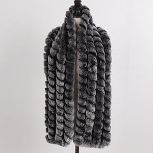 Image 3 - 2020 New Knitted Fashion Lady Real Rex Rabbit Fur Scarf Women Winter Warm Natural Fur Scarves Long Style Real Fur Neckerchief