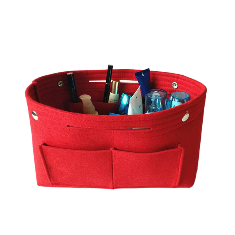 1PC Felt Fabric Cosmetic Bag Travel Multifunction Handbag Cosmetic Organizer Purse Insert Bag Felt Fabric Storage Pouch Case