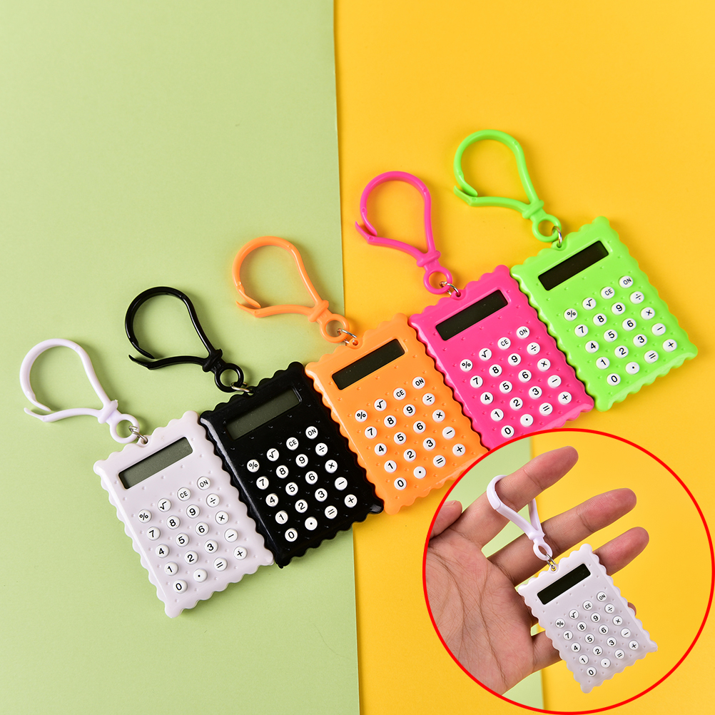 Plastic Mini Keychain Calculator Handheld Pocket Type Coin Batteries Calculator Small Battery Office Supplies Student Stationery