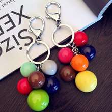 2019 New 1 set acrylic resin flat Key Chain colorful candy pendant jewelry men and women ring