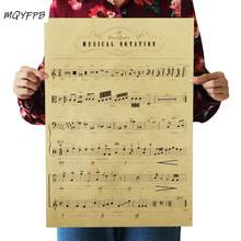 Música enciclopédia kraft papel cartaz sala decoração pintura adesivos de parede casa pintura de imagem 51x36cm