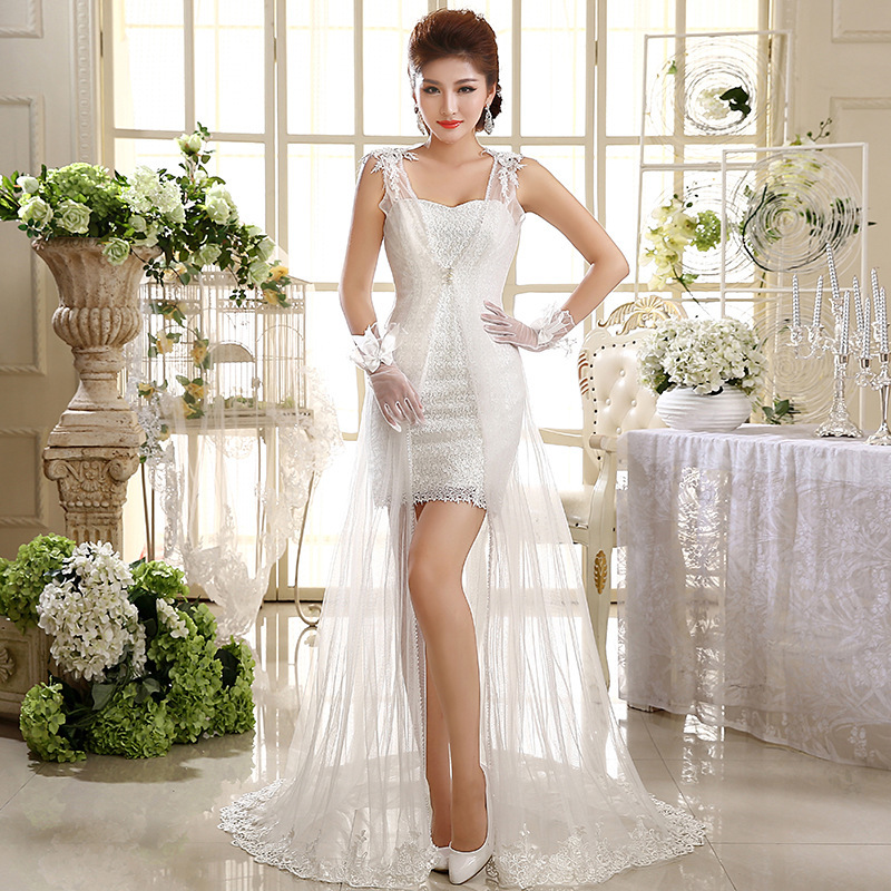 Vestido Cocktail Real Clearance Wedding Dresses 2020 New Korean Trailing Bride Wipes Bosom Cultivate Morality Show Thin Female