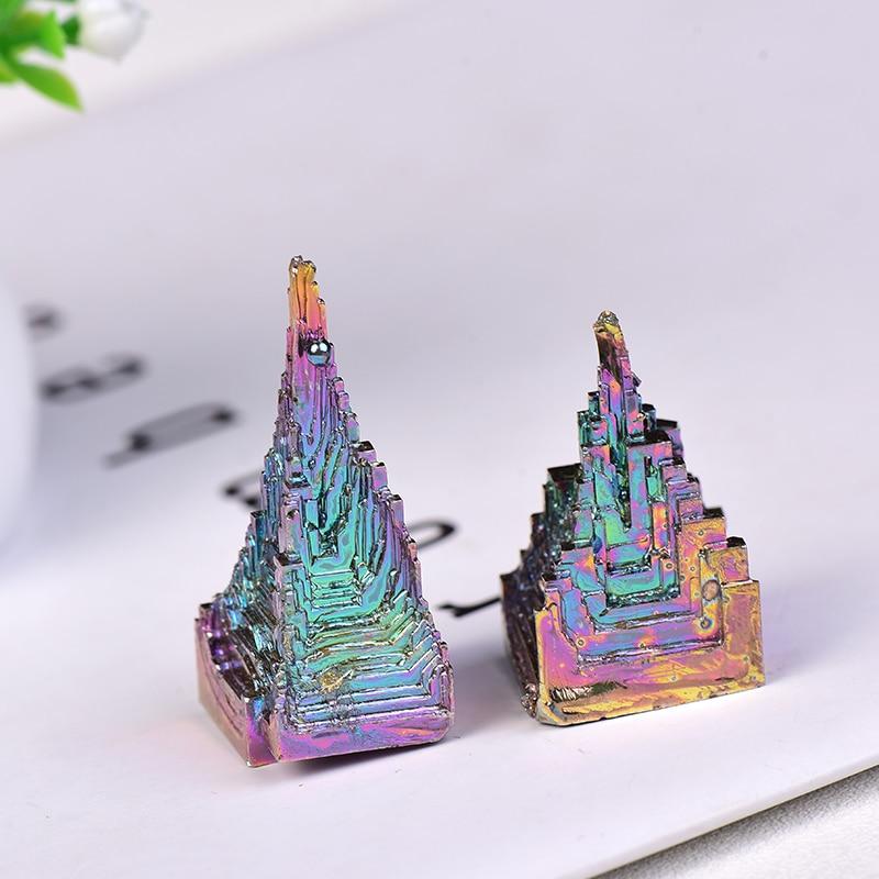 Doğal Metal kuvars piramit bizmut cevheri kuvars taş Reiki şifa taşı çalışma oturma ham kristaller toplama ve ev dekor