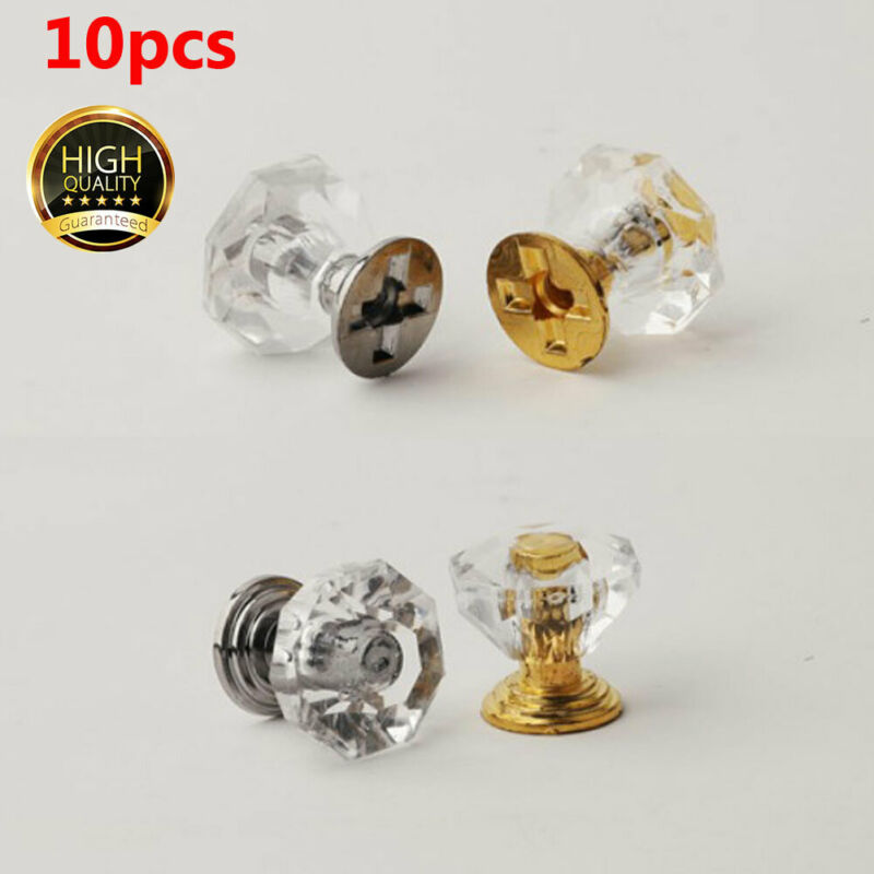 10pcs 20mm Diamond Crystal Glass Cabinet Knob Handle Drawer Cupboard Pull+Screws