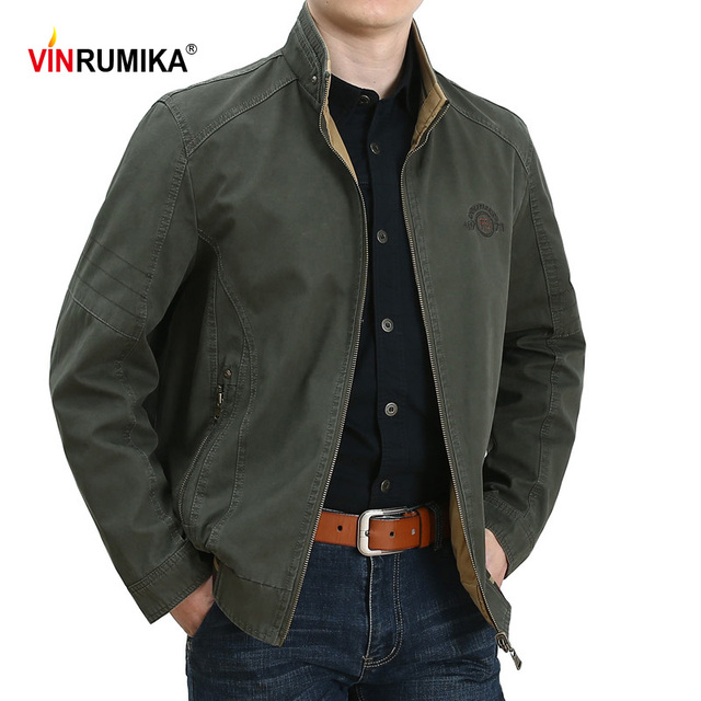 Spring Autumn Middle Aged Men's High Quality Double-sided 100% Cotton Khaki Jacket Coat Father Casual Style Man Army green Coats 1