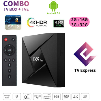 TX9 Pro Android 7.1 TV Box Amlogic S912 2GB 16GB With Alic UX 2.4G/5G WiFi 4K Google Media Player Smart TV Box + Tvexpress Tve t95k pro android 7 1 kodi smart tv box amlogic s912 octa core 4k 2 3g 16 32g bt4 1 5g wifi media player set top box android tv