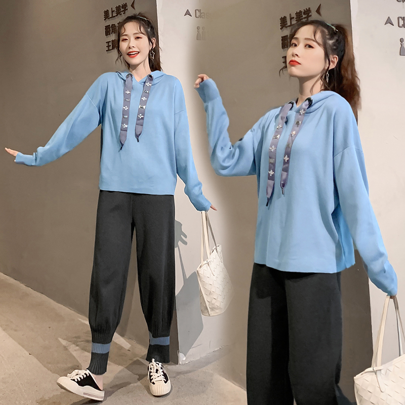 Tracksuit Knitted Sweater 2 Piece Set Women Outfits Long Sleeve Hoodies Tops And Wide Leg Pant Suits Knit Casual Female Clothing