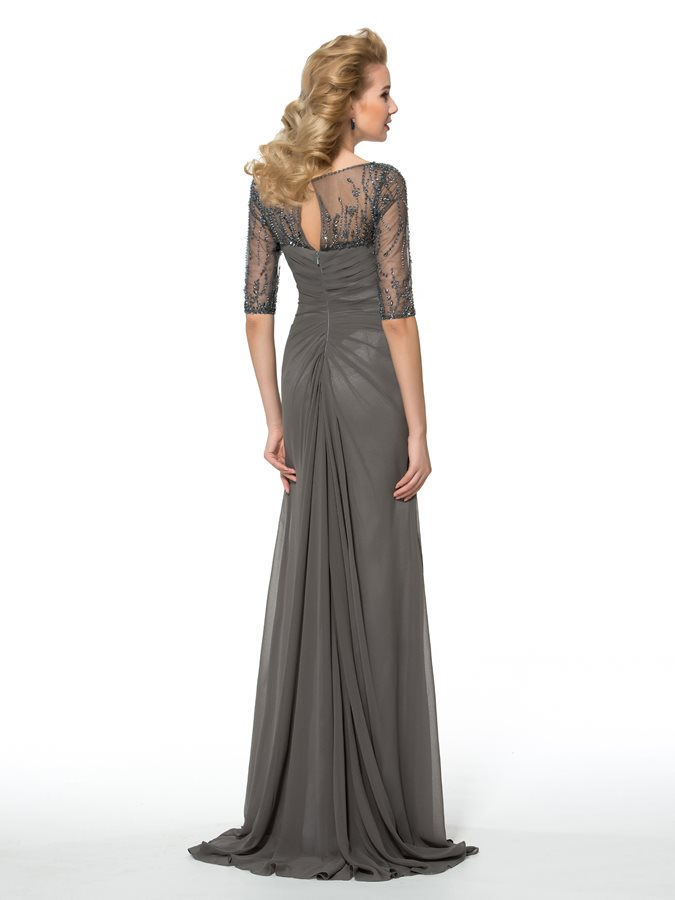 Elegant Gray Chiffon Long Mother Of The Bride Dresses 2020 Half Sleeve Beading Evening Prom Party Gowns Wedding Guest Dress