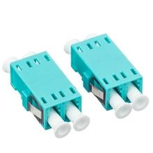 LC UPC adaptador de fibra óptica dúplex OM3 Aqua Multimode, conector DX, envío gratis