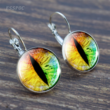 Dragon Eye Steampunk Green Blue hook earring glass  cabochon Silver Jewelry Valentines Day Gifts