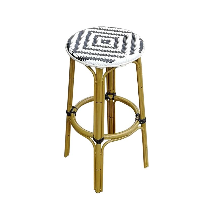 Bar Chair Dining Table Handmade Rattan  Bar Stool High  Nordic Simple   Coffee Shop Light Luxury