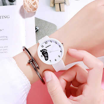 Fashion creative children's new cute foot lovers boudoir watch jelly comfortable soft quartz watch image