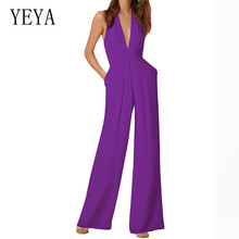 YEYA Sexy Open Back Halter Loose Jumpsuits Women Elegant Sleeveless V-neck Hollow Out Playsuits Summer Formal Banquet Party Wear