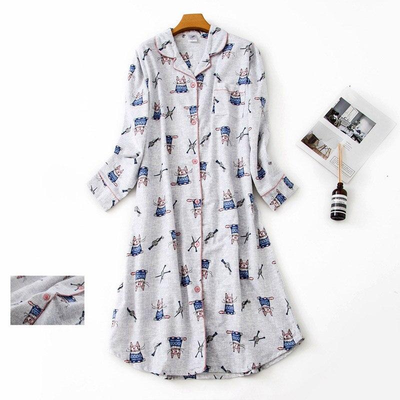 100% Cotton Extended Flannel Nightdress Women New Heart Printed Long Sleeve Sleepwear Female 2020 Autumn Winter Lady Nightwear 12
