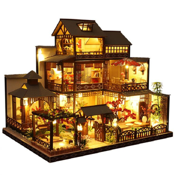 Diy 3D wooden Miniature Leisurely villa Dollhouse kits with dust cover building assembly home decoration Christmas birthday gift