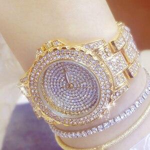 Image 4 - Full Diamond Watches Gold Women Crystal Luxury Brand Bling Rhinestone Wrist Watch Ladies Stainless Steel Clock Relogio Feminino