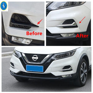 Image 2 - Chrome / Carbon Fiber Look Front Fog Lights Lamps Eyelid Eyebrow Stripes Cover Trim Fit For Nissan Qashqai J11 2018 2019 2020