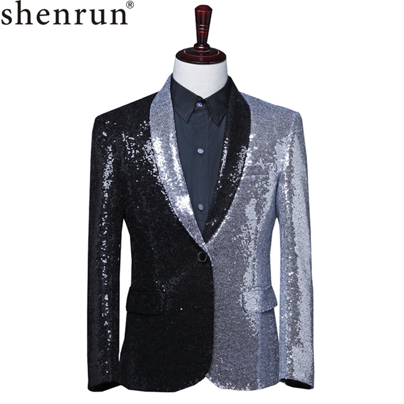 Shenrun Men Black Silver Sequins Suit Jacket Shawl Lapel Fashion Casual Blazers Host Singer Stage Costumes Dancer Groom Jackets