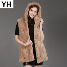 2019 Autumn Winter Women Real Rex Rabbit Fur Hooded Vest Lady Warm Rex Rabbit Fur Gilet Long Style Rex Rabbit Fur Waistcoat Coat cheap doakxol Thick Warm Fur Real Fur YH-72711 Thick (Winter) REGULAR Natural Color With Fur Hood Sleeveless HOOK Solid Casual